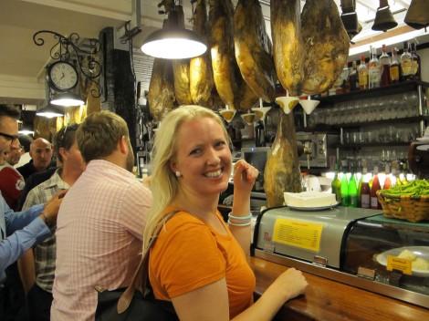 Erica in a san sebastian tapas bar